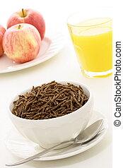 jus, blé, céréale, frais, petit déjeuner, pomme, orange, sain