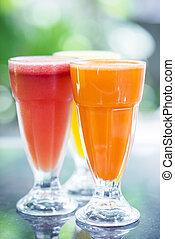 jus carotte, fruit, pastèque, orange, frais