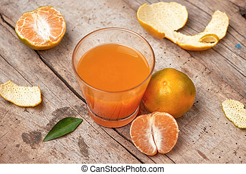 jus, citrus, verre, fond, orange, frais, mandarin, bois
