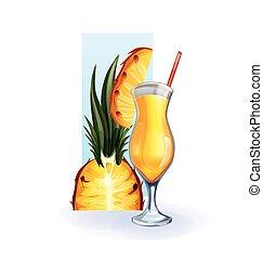 jus, cocktail, gobelet, smoothie, ananas