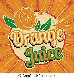 jus d orange, weinlese, plakat