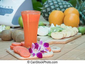 jus, frais, carotte, fruits