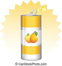 jus, fruit, boîte, aluminium
