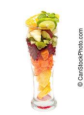 jus, fruit, mélange, verre, sain