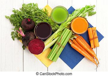 jus légume, à, carotte, betterave, et, céleri