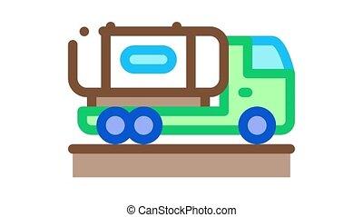 jus, livrer, concentré, animation, icône, camion