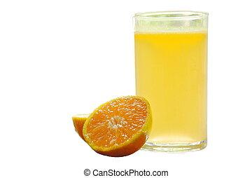 jus, mandarine, verre, découpage, fond, orange, blanc