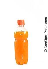 jus orange, blanc, bouteille, fond