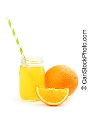 jus orange, blanc, isolé, bouteille