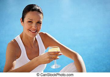jus orange, boire, femme, verre