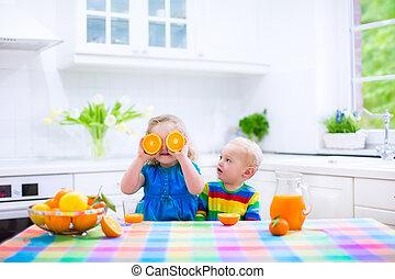 jus orange, boire, gosses