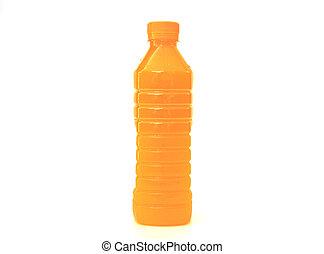 jus orange, bouteille, plastique