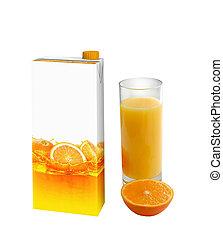 jus orange, carton, boîte