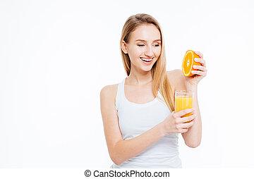 jus orange, femme, serre