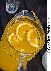 jus orange, frais, morceaux