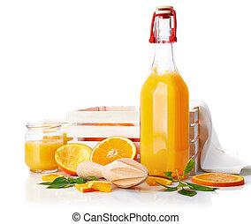 jus orange, fruit, vert, frais