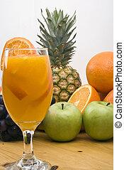 jus orange, fruits frais, verre