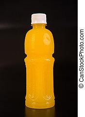 jus orange, isolé, fond, bottle.