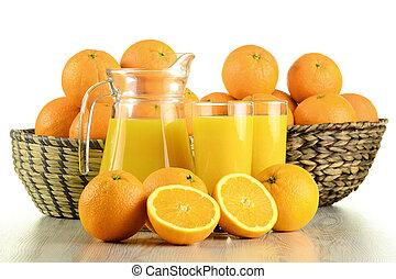 jus orange, lunettes, fruits