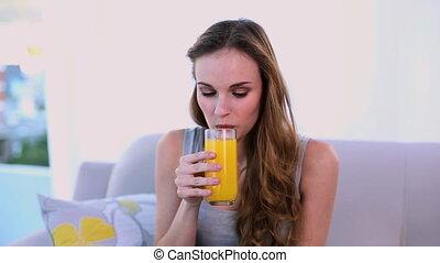 jus orange, modèle, boire, heureux