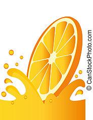 jus orange, segment, couler