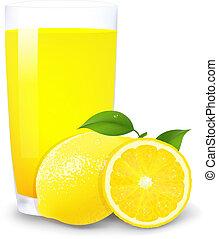 jus orange, tranches citron