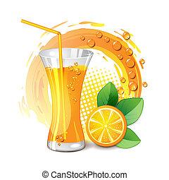 jus orange, verre