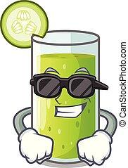 jus, verre, concombre, super, dessin animé, frais