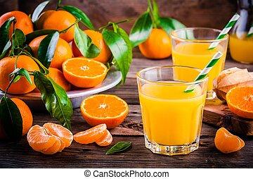 jus, verre, organique, orange