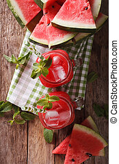 jus, vertical, verre, macro, sommet, glace, jars., pastèque...