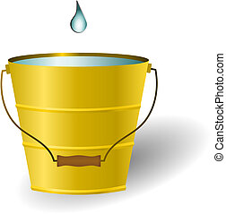 Vector illustration of a single water droplet falling into a bucket of water. Refers to the idiom just a drop in the bucket meaning that something is small in comparison to the whole amount. It is insignificant. The illustration can also be used for water conservation concepts and other water saving...