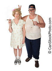 Just a joke - Homely couple on white background