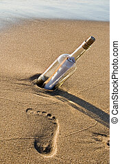 Just A Note - Message in a bottle with a single footprint.