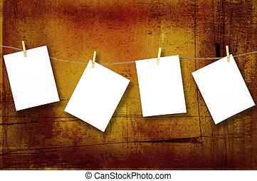 Hanging Blank Papers/Photographs Pinned to a Rope with Copy Space