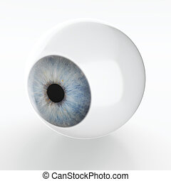 Just an eye - 3D render of artificial eye isolated on white...