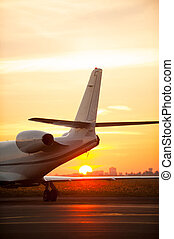 Just arrived. Cropped image of airplane landing in airport with sunset in the background