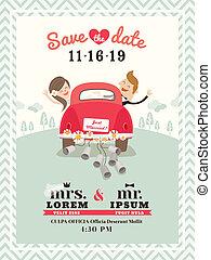 just, bil, gift, inbjudan, design, bröllop