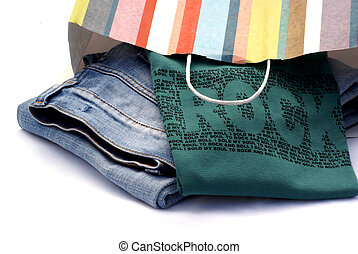Just bought. - Jeans and t-shirt still in striped paper bag.
