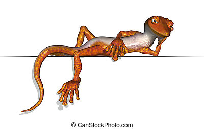 Just Chillin' - 3D render of a very laid back gecko relaxing...
