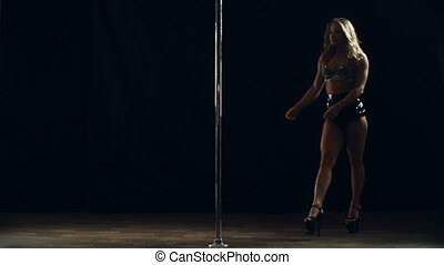 Just Do It - Close up of professional pole dancer performing...