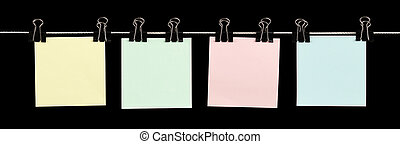 Just Fill Me In - Four blank sticky notes held on a string ...