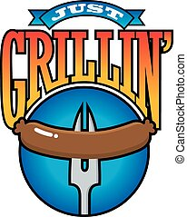 Just Grillin%u2019 Barbecue Party Graphi