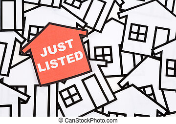 Real Estate Concept - Just Listed, a red home sign, Real...