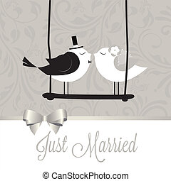 Just married birds - just married birds on special gray ...