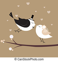 Just married birds - just married birds on special brown...