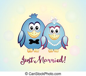 Just Married, blue birds