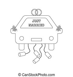 Just Married car outline