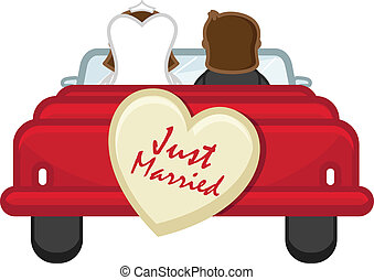 Just Married - Cartoon Couple