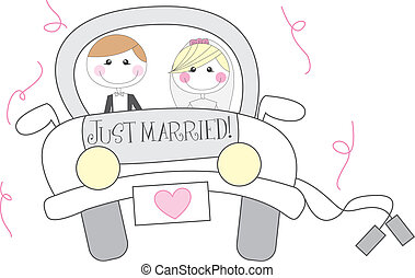 just married cartton with men and woman cartoon. vector