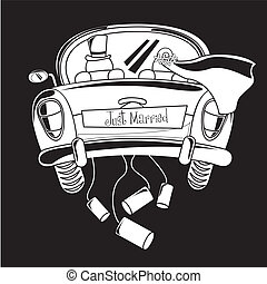 just married car, black and white. vector illustration